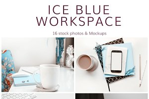Ice Blue Workspace (16 Images)