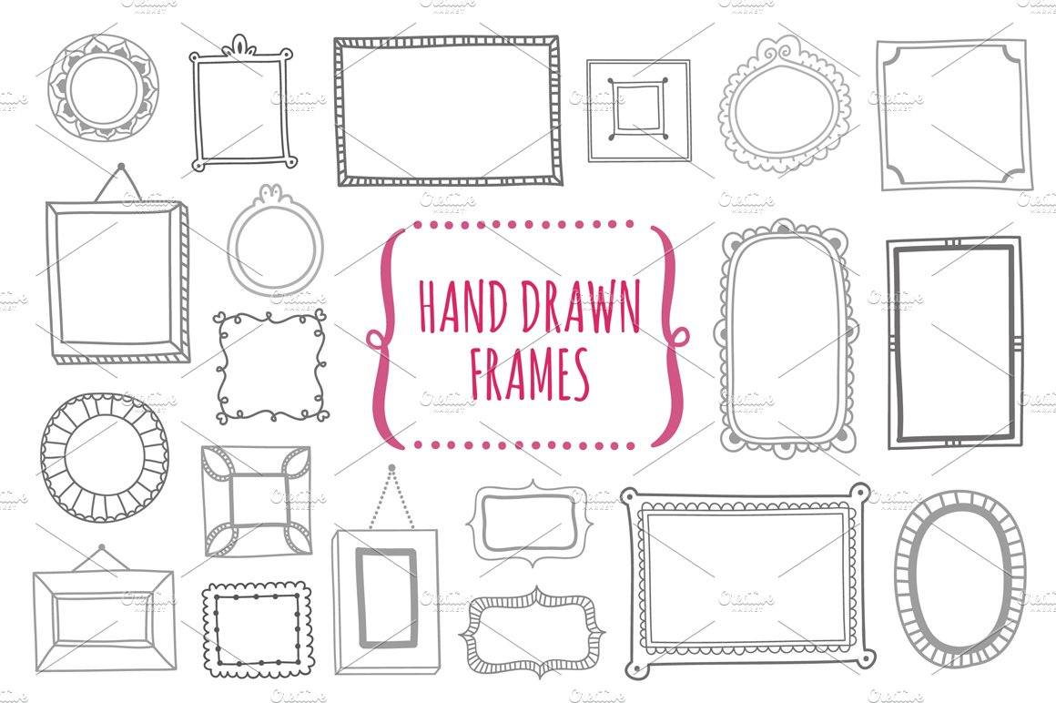 picture frame templates for photoshop - hand drawn frames illustrations creative market