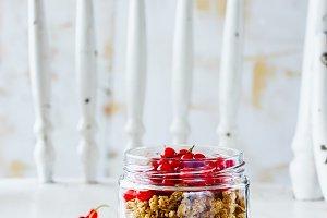 Glass of granola