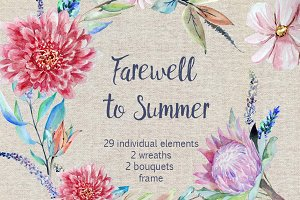 Summer Watercolor Clip Art Set