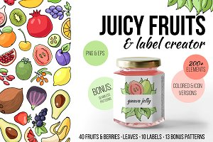 Fruit&berry clipart + label template
