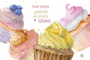 Watercolor hand drawn cupcakes