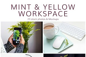 Mint & Yellow Office (23 Images)