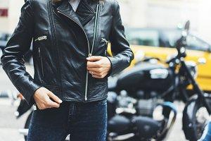 Girl on motorcycle background