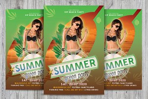 PSD party flyer green