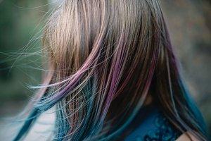 rainbow hair portrait