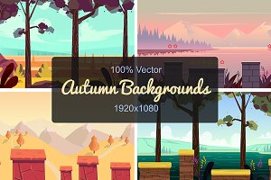 Set of Seamless Autumn Backgrounds