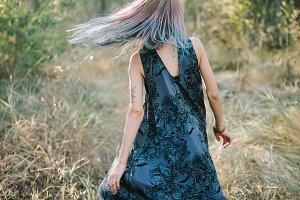 autumn rainbow hair portrait