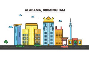 Alabama, Birmingham.City skyline, architecture, buildings, streets, silhouette, landscape, panorama, landmarks. Editable strokes. Flat design line vector illustration concept. Isolated icons