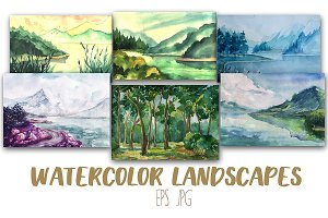 12 Artistic Watercolor  Landscapes
