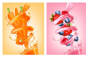 Fruit in juice splashes