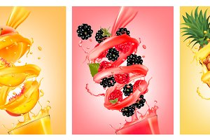 Labels of of fruit in juice splashes