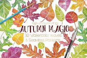 Watercolor Fall Leaves Autumn Bundle