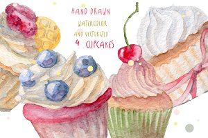 Watercolor set of cupcakes
