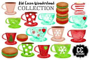 Watercolor Cocoa Christmas Clip Art