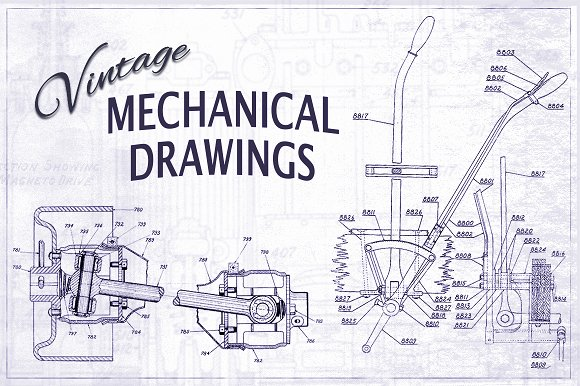Vintage mechanical drawings textures creative market malvernweather Image collections