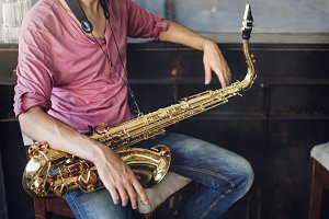 Musical Artist Playing Saxophone