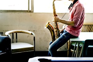 Musical Artist Playing Saxophone