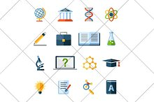 research and science flat icons