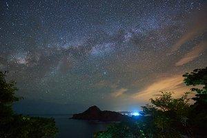 Night sky with galaxy