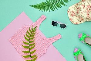 Hipster Girl Set. Fashion Design,Fern Leaf.Minimal