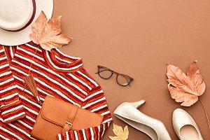 Autumn Fashion Lady Clothes Set. Leaves. Vintage
