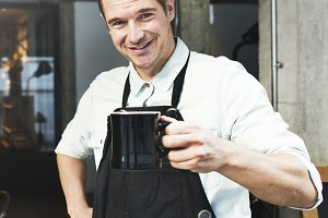 Man enjoying his coffee