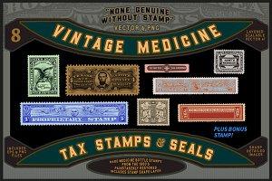 Vintage Medicine Bottle Stamps
