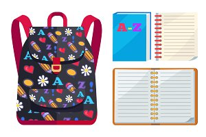 Backpack for Kids with ABC Open Copybook Vector