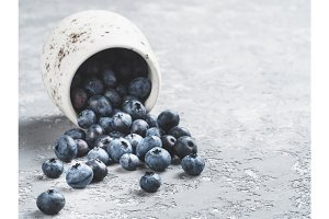 Blueberry scattered with copy space