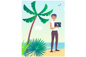 Business Travel Poster with Freelancer on Beach