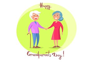 Happy Grandparents Day Senior Couple Walk Together