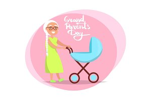 Grandparents Day Senior Lady with Pram Vector