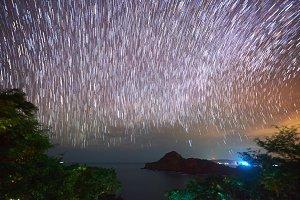 Stars moving on night sky