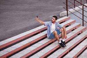 Man making selfies