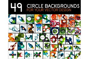 Mega collection of geometric abstract background templates - circles, round shapes pattern design elements
