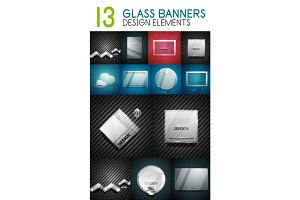 Vector mega collection of glass glossy realistic plates and shapes for your text
