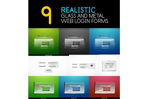 Set of realistic transparent glass and metal web login forms