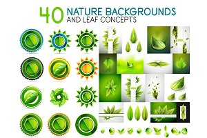 Mega collection of nature leaves - green eco organic badges