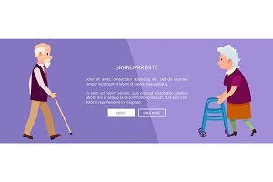 Grandparents Web Banner with Grandpa and Grandma