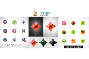 Collection of color bright abstract geometric symbols, symmetric vector icons