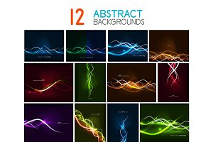 Set of glowing wave lines abstract backgrounds