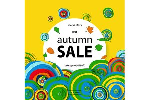 Vector discount banner autumn sale