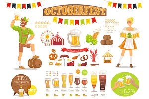 Oktoberfest Vector Poster Depicting Food and Beer