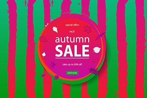 Autumn sale watermelon banners