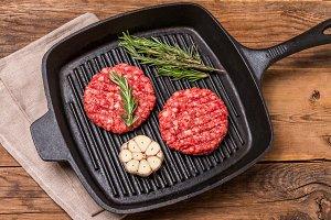 raw burgers from organic beef