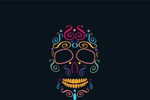 Skull icon neon color, Mexican