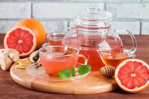 Grapefruit herbal tea with ginger and honey