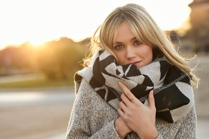 Blonde woman in winter clothes