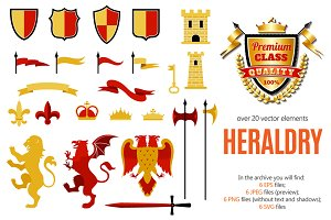 Vintage Heraldry Elements Set